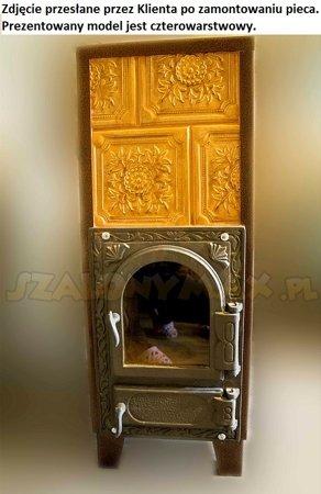 DOSTAWA GRATIS! 92264204 Piec grzewczy kaflowy 7,8kW Retro trzywarstwowy z szybą na drewno (kolor: brąz, wysokość: 76cm, wylot: 125mm)