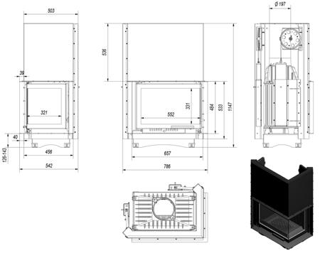 KONS Wkład kominkowy 8kW Maja BS Gilotyna (prawa boczna szyba bez szprosa, podnoszona do góry) - spełnia anty-smogowy EkoProjekt 30040904