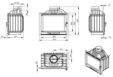 TOPSTOVE Wkład kominkowy 13kW (prawa boczna szyba) - spełnia anty-smogowy EkoProjekt 58477274